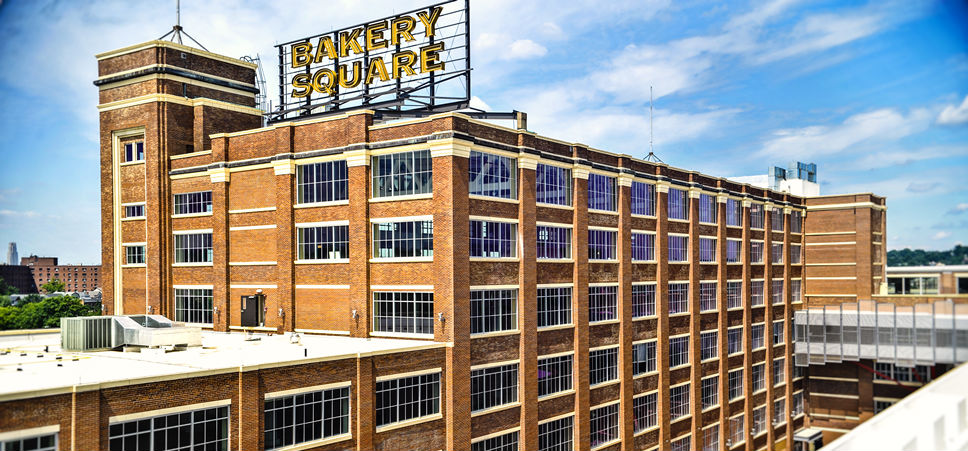 Aerial photo Bakery Square Building  Pittsburgh, PA.